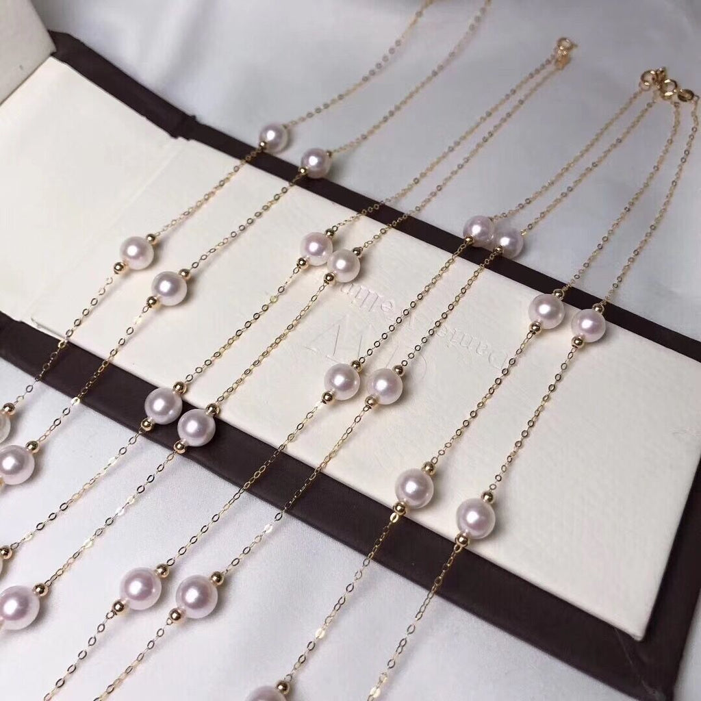 "6.5-7.0 mm AAA White Akoya Pearl Necklace 18"" with Solid 18-Karat Yellow Gold Chain - takaramonobr"