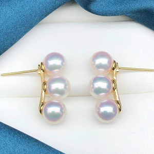 TEN-NYO Luster Line Collection 7.5-8.0 mm Japanese Akoya Pearl Earrings in G18k - takaramonobr
