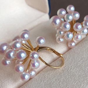 Luxury Series Aurora TEN-NYO Luster White Akoya Pearl Earrings - takaramonobr