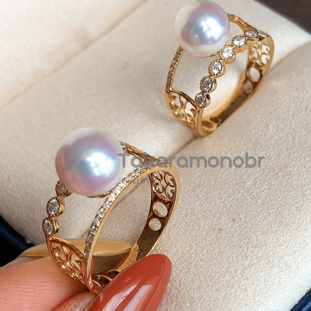 Holly 8.0-8.5 mm Japanese Akoya Pearl & Diamond Ring - takaramonobr