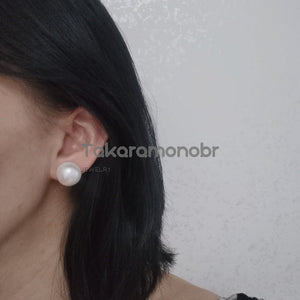 15.0-16.0 mm White Button Freshwater Pearl Earrings - takaramonobr