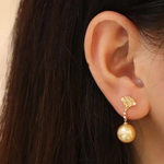Load image into Gallery viewer, Ginkgo Leaf Collection10.0-11.0 mm Golden South Sea Pearl & Diamond Earrings - takaramonobr