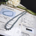 Load image into Gallery viewer, TERI Strongest Series | 8.1-10.6 mm Sliver Blue Tahitian Pearl  Necklace | Pearl Science Laboratory Appraisal Certificate - takaramonobr