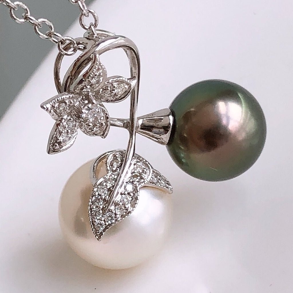 11.0-13.0 mm Tahitian Green Pearl & White South Sea Pearl Pendant with Diamond - takaramonobr