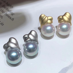 Load image into Gallery viewer, Wrap Collection 8.0-8.5 mm White/Silver-Blue Akoya Pearl Earrings Mounted on Solid 18K Yellow Gold for Woman - takaramonobr