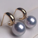 Load image into Gallery viewer, 8.5-9.0 mm Gray Akoya Pearl Hook Earrings Mounted on Solid 18K Thick Gold for Woman - takaramonobr