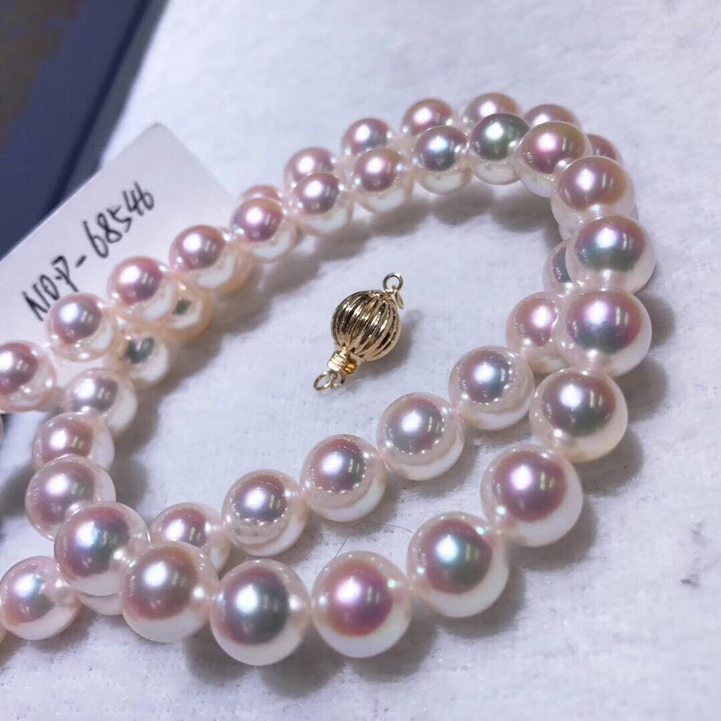 8.5-9.0 mm White Aurora TEN-NYO Hanamada Akoya Pearl Necklace with Solid 14-Karat Yellow Gold Clasp - takaramonobr