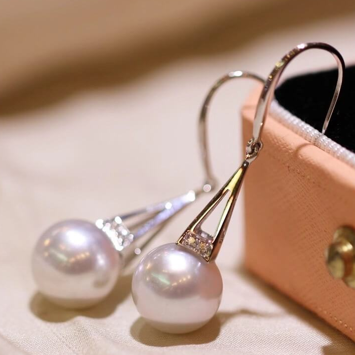 Tower Collection 10.0-11.0 mm White South Sea Pearl & Diamond Dangle Earrings Mounted on G18k - takaramonobr