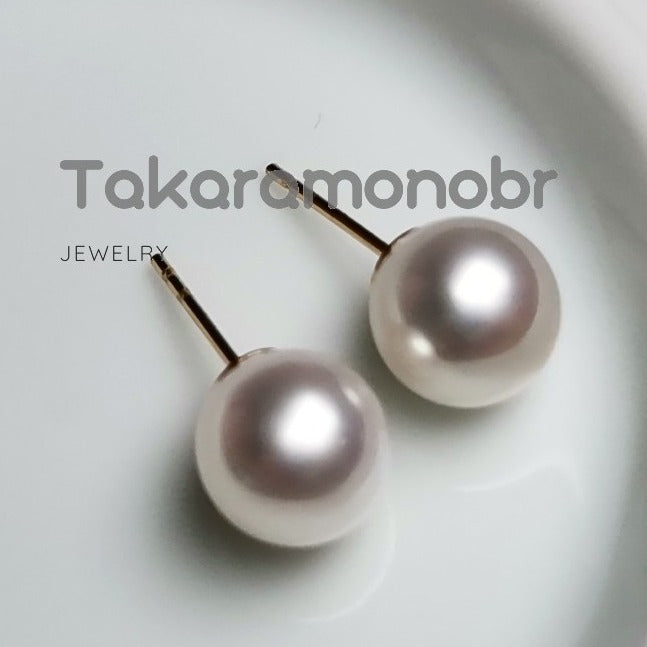 7.0-8.0 mm White Freshadama Freshwater Pearl Stud Earrings - takaramonobr