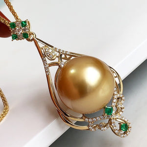 Infinity Collection Golden 14.0-15.0 mm South Sea Pearl and Diamond Emerald Pendant - takaramonobr