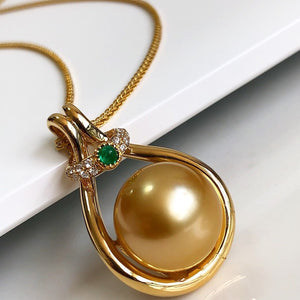 Brilliant Collection Drop Golden 9.0-10.0 mm South Sea Pearl and Diamond Pendant - takaramonobr