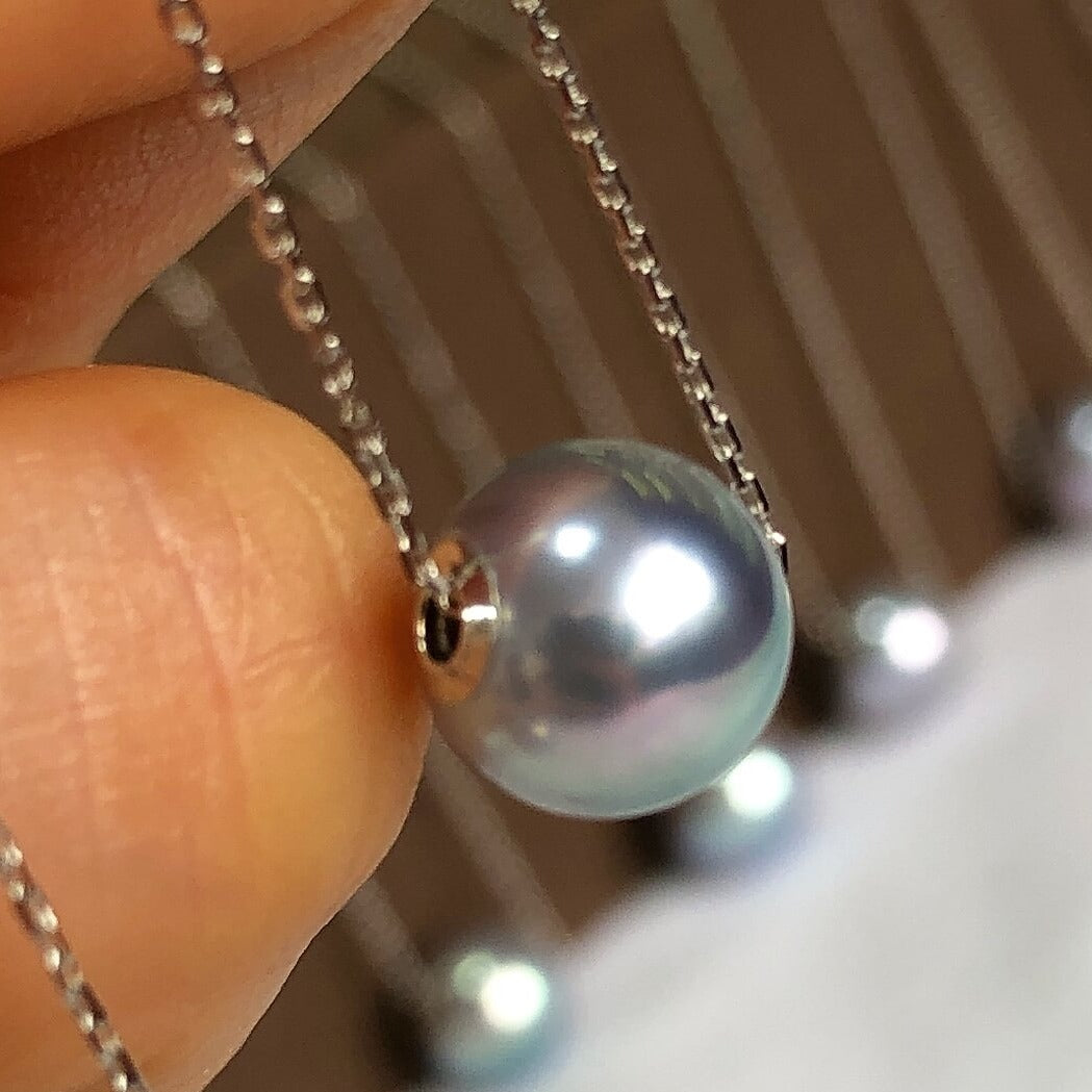 Silver-Blue Akoya Pearl Pendant With Solid 18-Karat White Gold Chain - takaramonobr