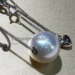 Load image into Gallery viewer, 12.0-13.0 mm White South Sea Pearl Pendant with Solid 18-Karat White Gold - takaramonobr