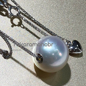 12.0-13.0 mm White South Sea Pearl Pendant with Solid 18-Karat White Gold - takaramonobr