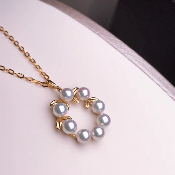Grape Collection 4.0-5.0 mm Silver-Blue Grey Mini Akoya Pearl Pendant Mounted on G18K - takaramonobr