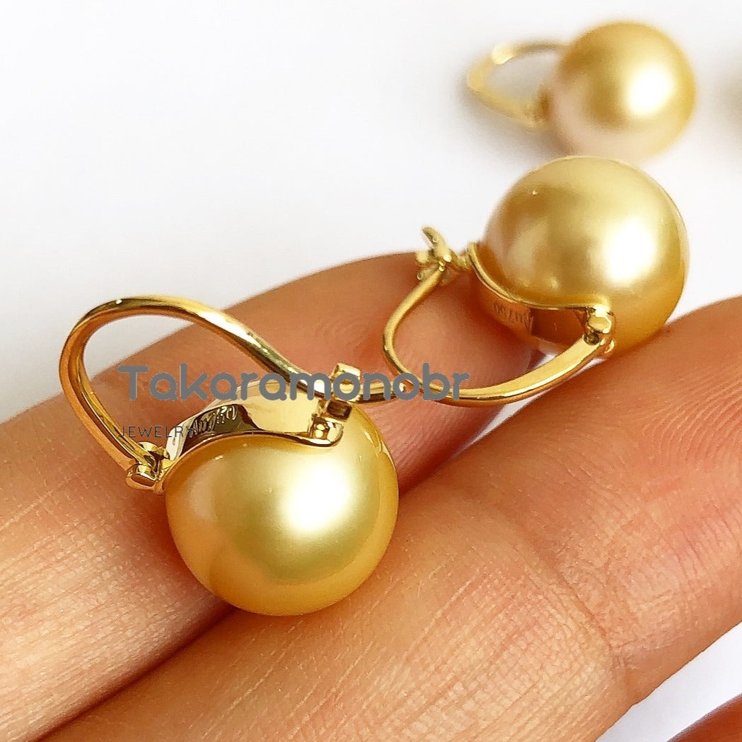 10.0-11.0 mm Golden South Sea Pearl Earrings Mounted on Solid 18-Karat Yellow Gold - takaramonobr