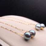 Load image into Gallery viewer, String Collection 7.5-8.0 mm Silver-Blue Grey Akoya Pearl Dangle Earrings  Mounted on 18K Gold for Woman - takaramonobr