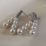Load image into Gallery viewer, Luxury Series Aurora TEN-NYO Luster White Akoya Pearl & Diamond Earrings - takaramonobr