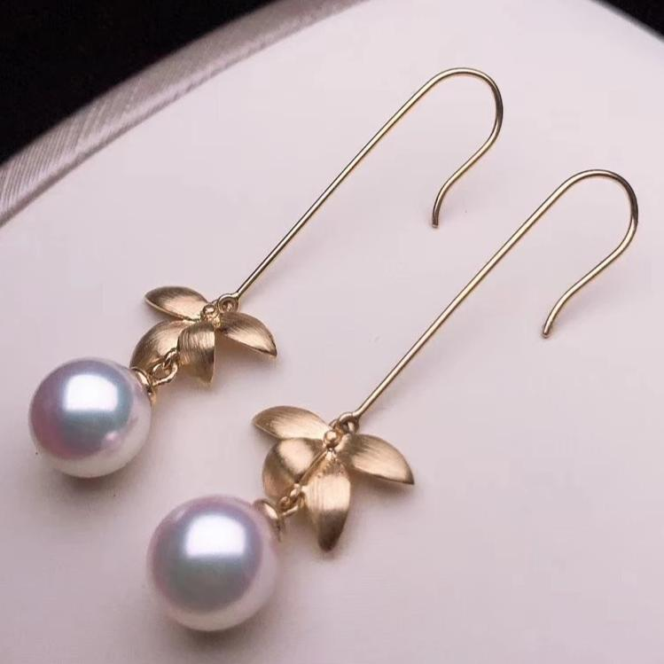 Orchid Collection 8.5-9.0 mm Japanese Akoya Pinched Wire Craft Dangle Earrings - takaramonobr
