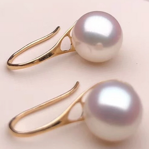 Hook Collection 7.5-8.0 mm AAA+ White Akoya  Pearl Earrings Mounted on Solid 18-Karat Gold for Woman