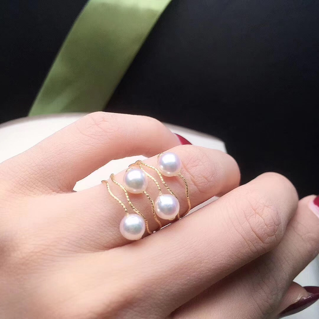 Wave Collection White Akoya Pearl Solitaire Ring - takaramonobr