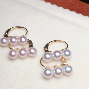 Multiple Pearls Series 5.0-5.5 mm Grey/White Akoya Pearl Earrings Mounted on 18K Solid Gold - takaramonobr