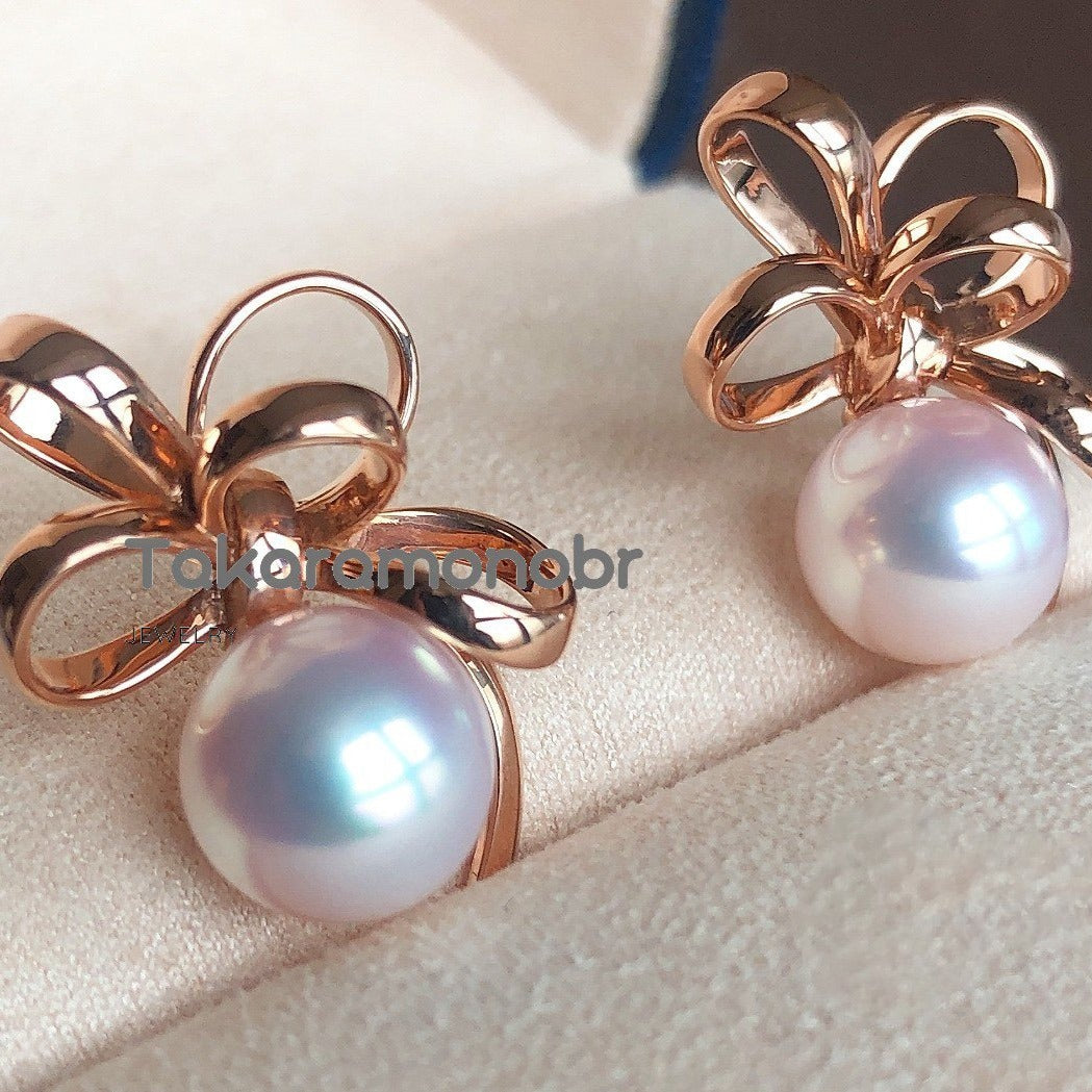 Flower Collection 8.5-9.0 mm White Akoya Pearl & Diamond Earrings/Ring/Pendant/Set for Woman - takaramonobr