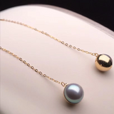 String Collection 7.5-8.0 mm Silver-Blue Grey Akoya Pearl Dangle Earrings  Mounted on 18K Gold for Woman - takaramonobr