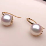 Hook Collection 7.5-8.0 mm AAA+ White Akoya  Pearl Earrings Mounted on Solid 18-Karat Gold for Woman - takaramonobr
