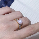 Power Collection 8.0-8.5 mm White Hanadama akoya Pearl and Diamond Ring in 18K Yellow Gold - takaramonobr