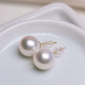 9.0-10.0 mm White Freshadama Freshwater Pearl Stud Earrings - takaramonobr
