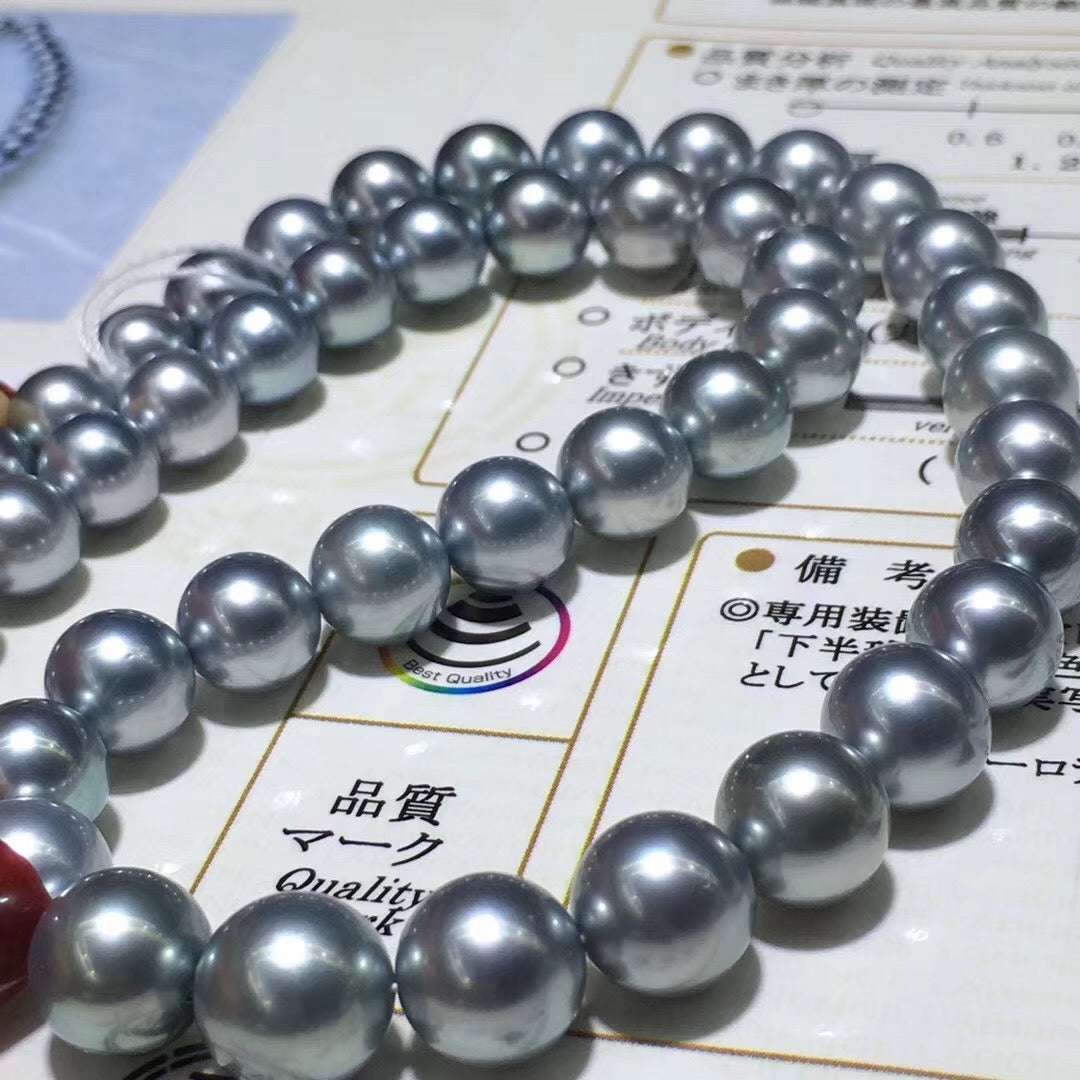 RARE 8.1-10.6 mm AAAA Platinum Grey Tahitian Pearl Necklace - takaramonobr
