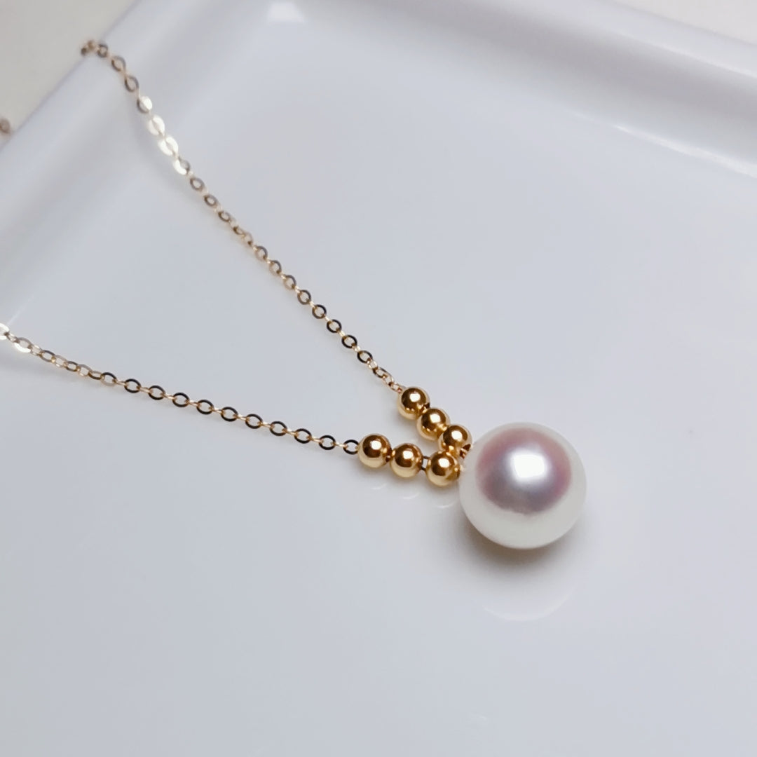 8.5-9.0 mm White Akoya Pearl Pendant Mounted on Solid 18-Karat Yellow Gold