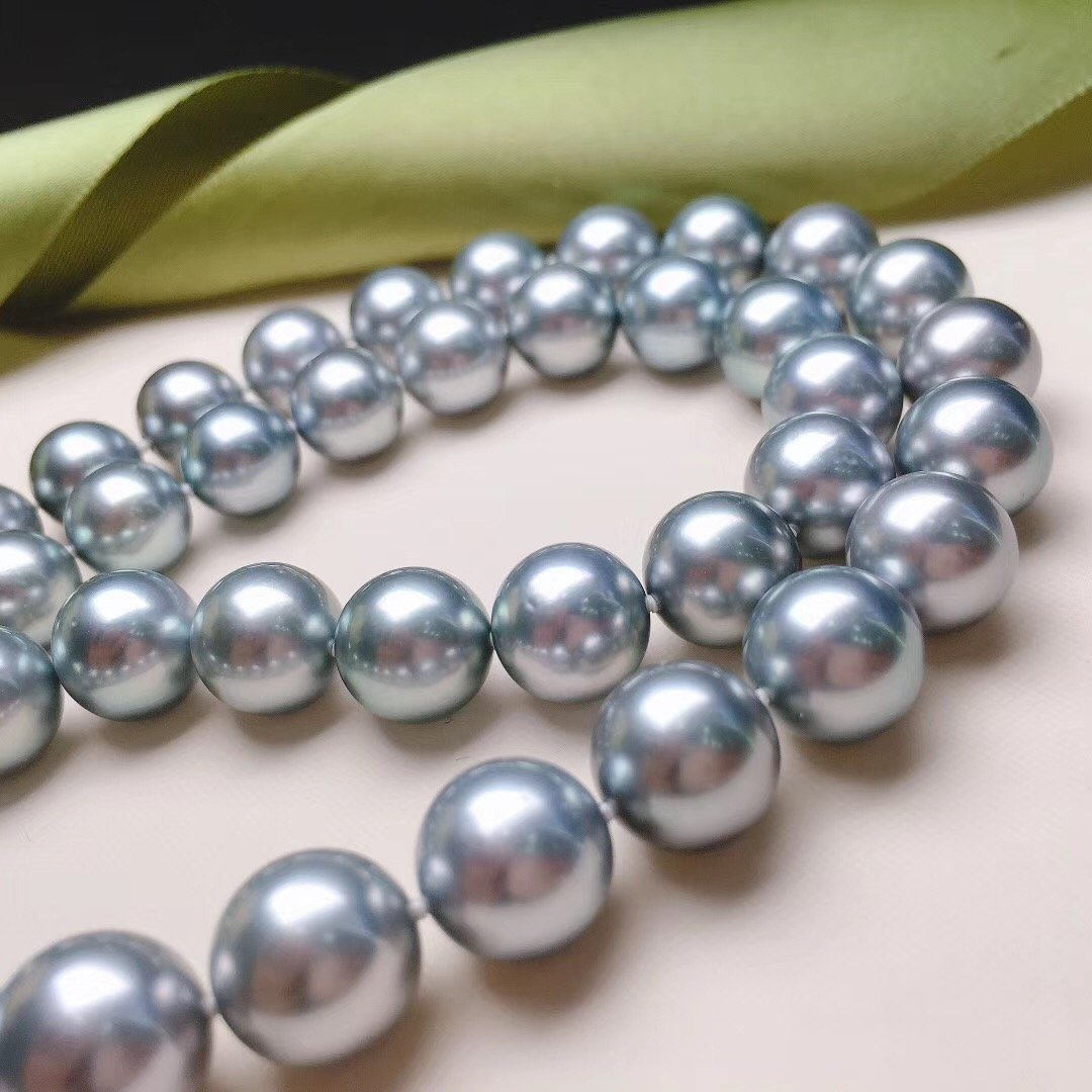 TERI Strongest Series | 8.1-10.6 mm Sliver Blue Tahitian Pearl  Necklace | Pearl Science Laboratory Appraisal Certificate - takaramonobr