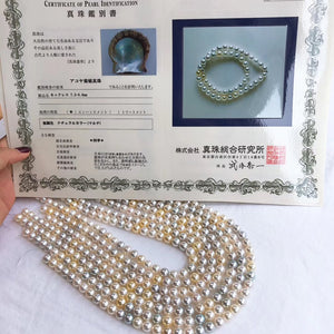 7.5-8.0 mm Candy Color Akoya Pearl Necklace with Japanese Certificate - takaramonobr