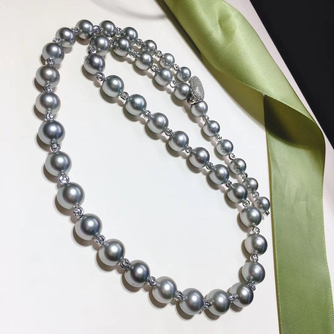 24-Inches 8.0-11.0 mm AAA Round Tahitian Black Pearl Necklaces - takaramonobr