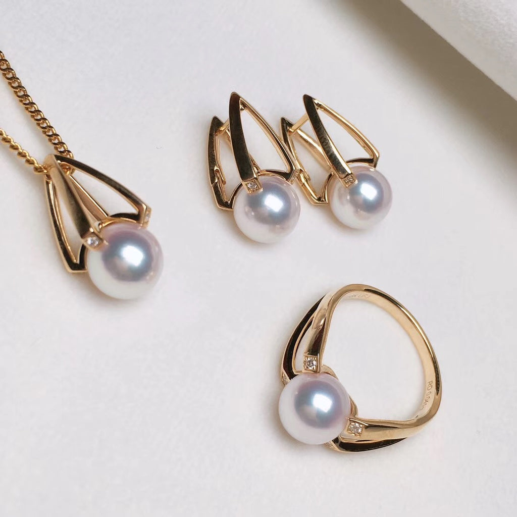 M Collection 8.5-9.0 mm White Japanese Akoya Pearl & Diamond Stud Earrings - takaramonobr