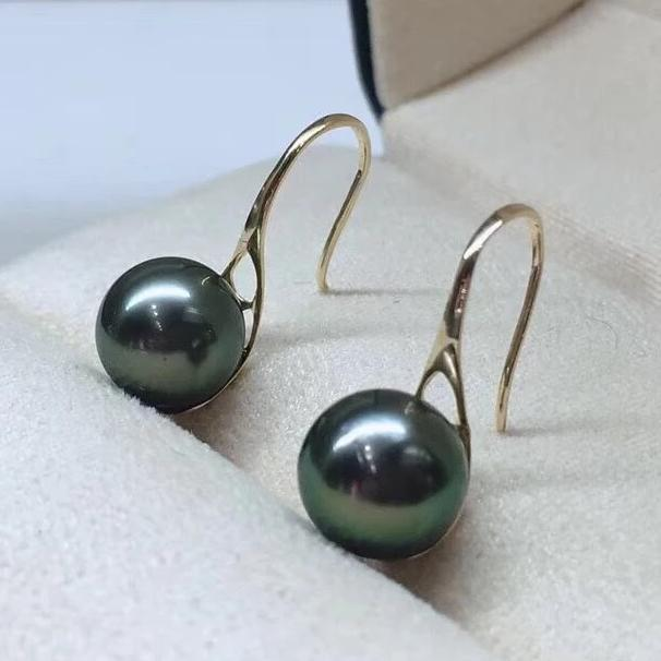 8.0-9.0 mm AAA+ Tahitian Peacock Green Pearl Drop Earrings Mounted on 18-Karat Solid Yellow Gold - takaramonobr