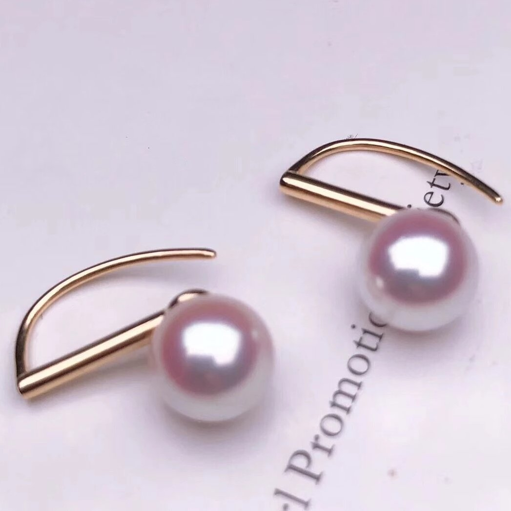 8.0-8.5 mm AAA+ White Akoya Round Pearl Stud Earrings on Solid 18-Karat White Gold - takaramonobr