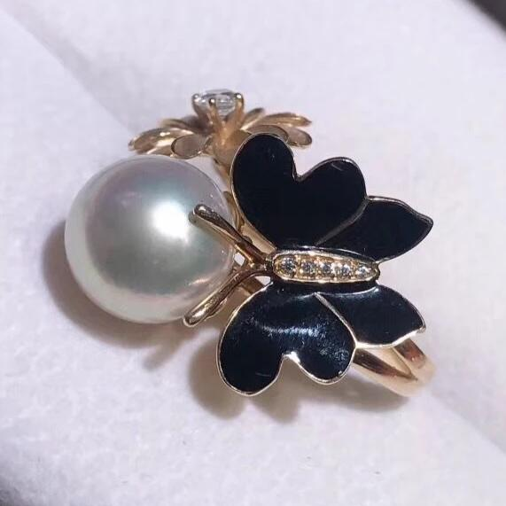 11-12mm Australia white pearl ring butterfly and follower collection whole view