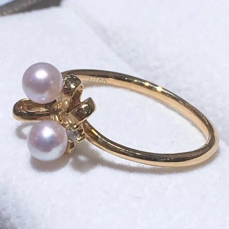 Bowknot Collection 4.0-4.5 mm Japanese Akoya Pearl & Diamond Ring in 18K Yellow Gold - takaramonobr