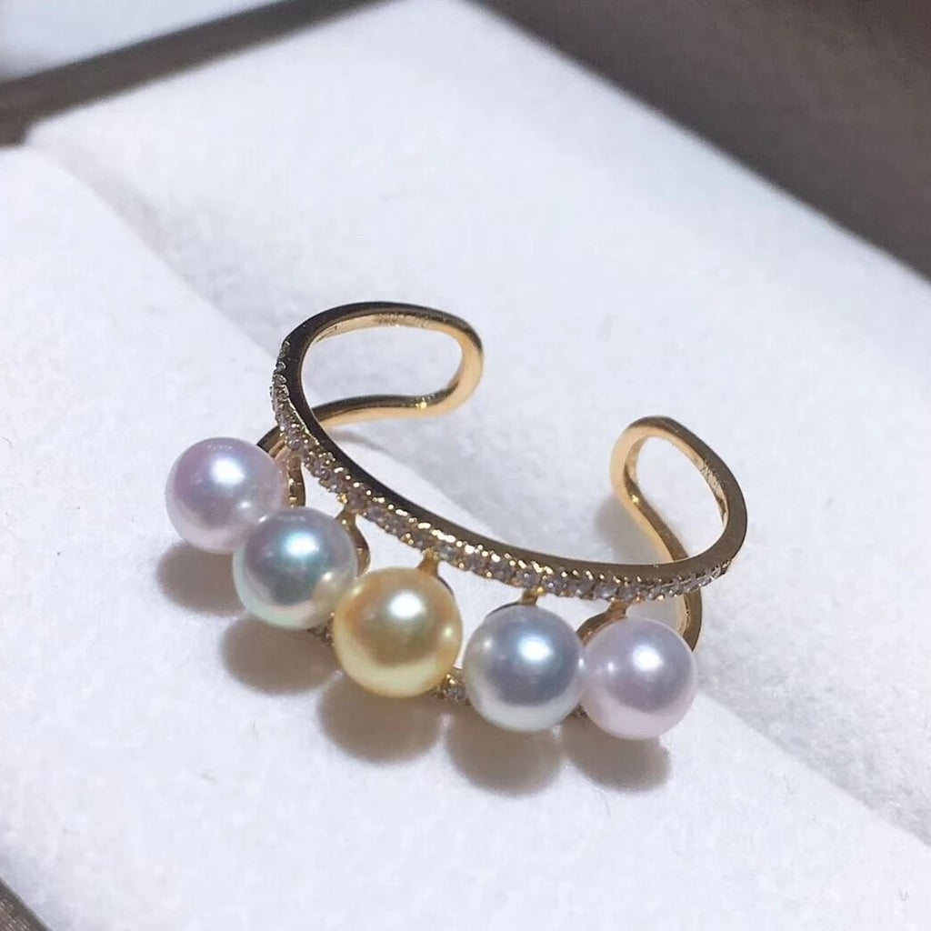 Sugar Collection 4.0-5.0 mm Akoya Pearl & Diamond Ring in 18K yellow Gold - takaramonobr