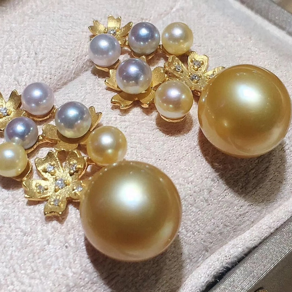 Multiple Pearls Series 10.0-11.0 mm Golden South Sea Pearl & Diamond Earrings - takaramonobr