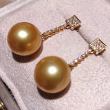 Brilliant Collection Drop Golden South Sea 10.0-11.0 mm Pearl & Diamond Dangle Earrings - takaramonobr
