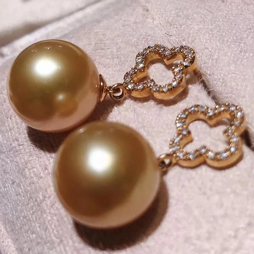 Hot Collection Golden South Sea 10.0-11.0 mm Pearl & Diamond Dangle Earrings - takaramonobr
