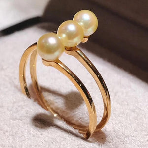 Row Collection 4.5-5.0 mm Akoya Pearl Ring in 18K Yellow Gold - takaramonobr