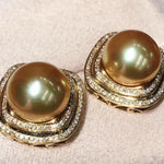 Load image into Gallery viewer, Classic Collection Golden South Sea 11.0-12.0 mm Pearl & Diamond Stud Earrings - takaramonobr