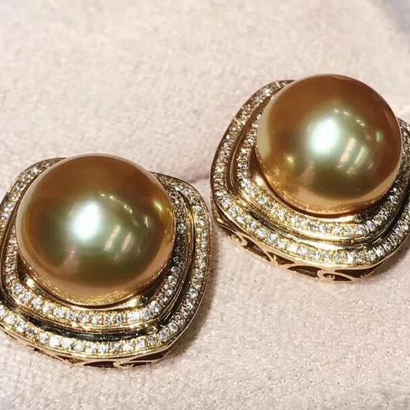 11.0-12.0 mm golden south sea pearl diamond earrings