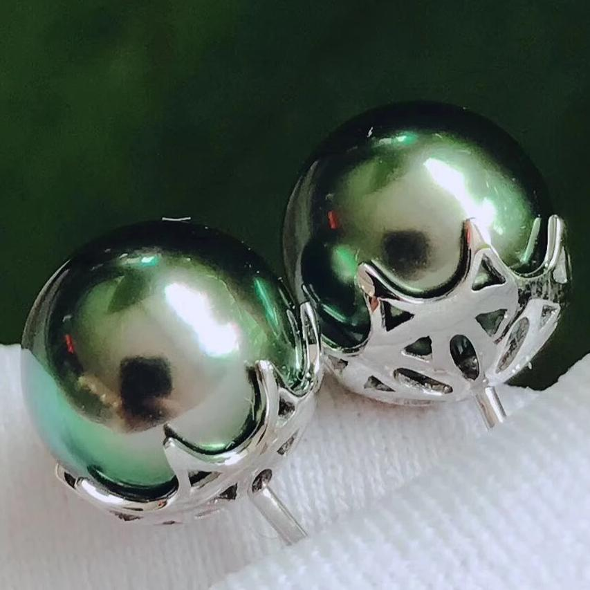 9.0-10.0 mm AAA Tahitian Peacock Green Pearl Stud Earrings in 18K White Gold for Woman - takaramonobr