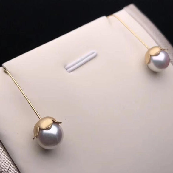 Convallaria Majalis Collection 7.5-8.0 mm White Akoya Pearl Dangle Earrings Mounted 18K Yellow Gold - takaramonobr